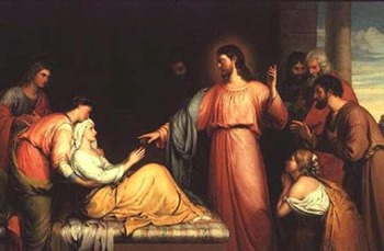 AGN35544 Christ healing the mother of Simon Peter by Bridges, John (fl.1818-1854)oil on canvas121.9x152.Private Collection© Agnew's, London, UKEnglish, out of copyright